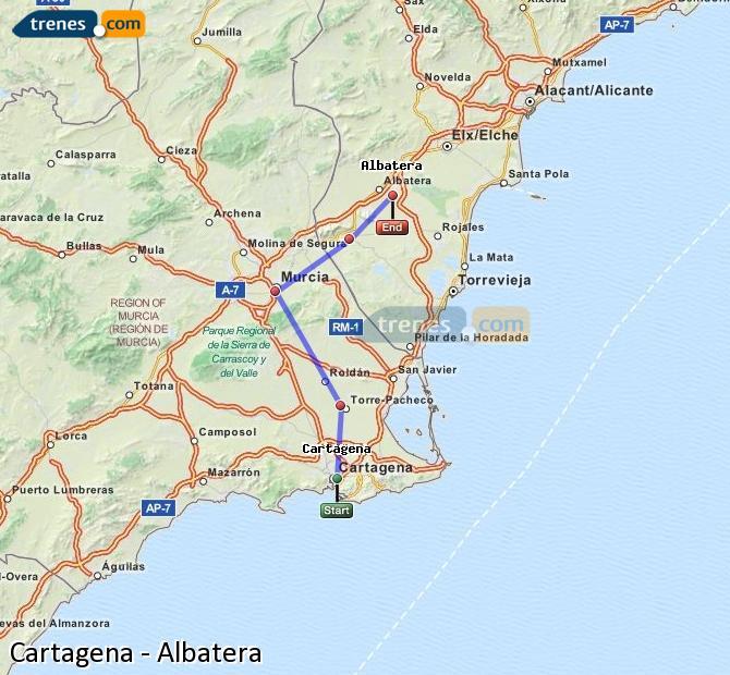 Ampliar mapa Comboios Cartagena Albatera