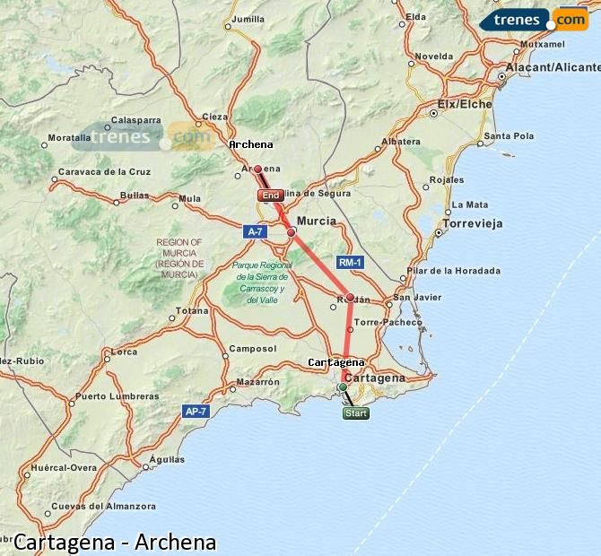 Enlarge map Trains Cartagena to Archena