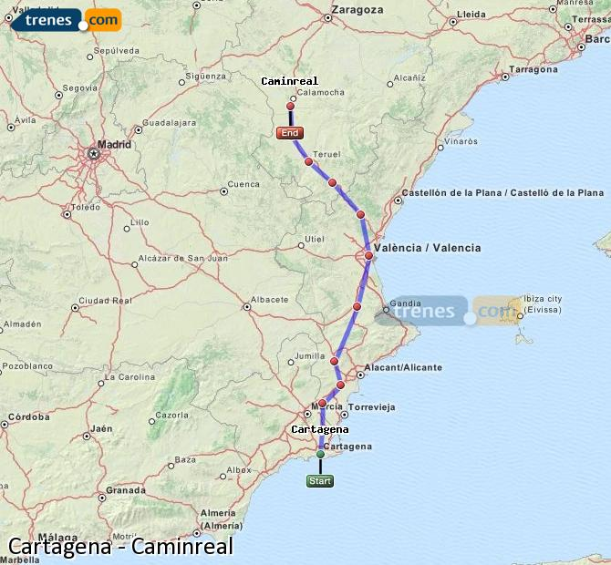 Enlarge map Trains Cartagena to Caminreal