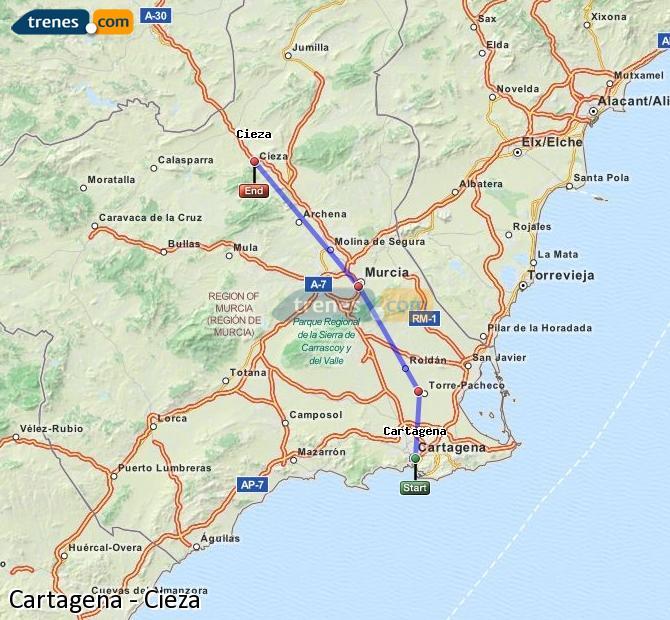 Ampliar mapa Trenes Cartagena Cieza