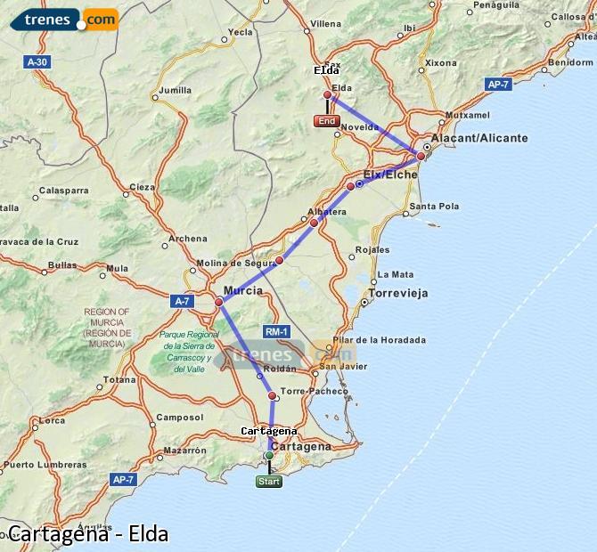 Ingrandisci la mappa Treni Cartagena Elda