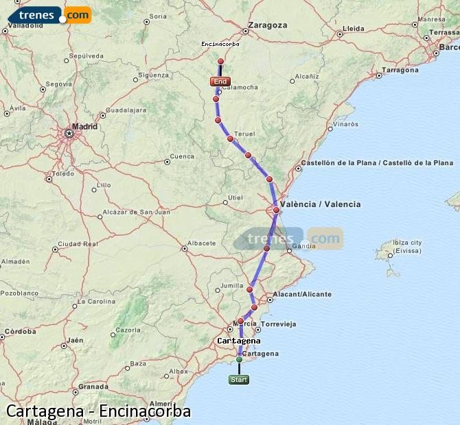 Enlarge map Trains Cartagena to Encinacorba