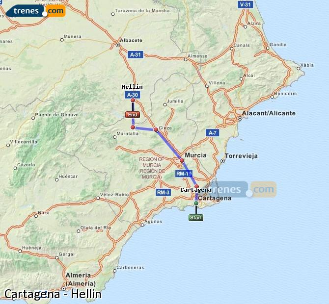 Enlarge map Trains Cartagena to Hellín