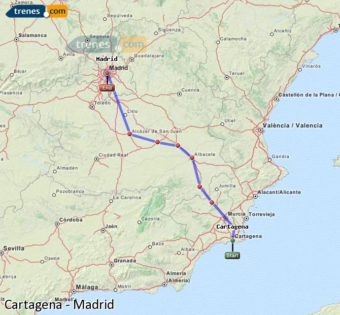 Ampliar mapa Trenes Cartagena Madrid