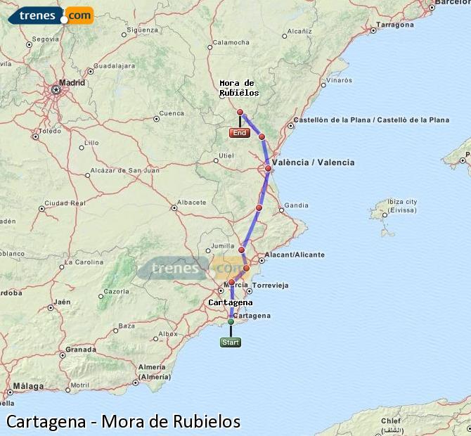 Agrandir la carte Trains Cartagena Mora de Rubielos
