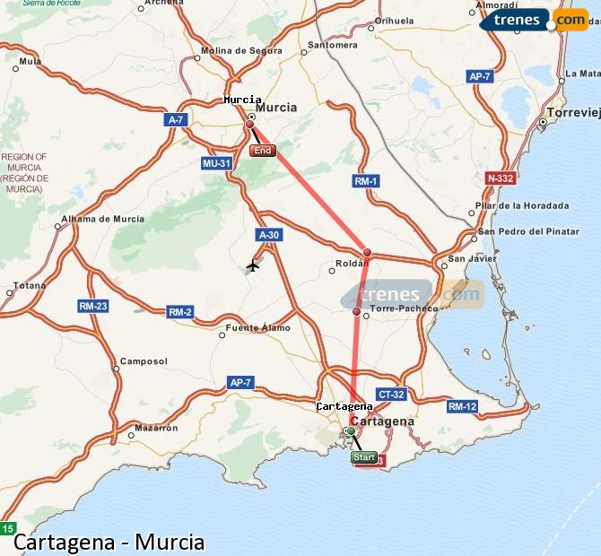 Enlarge map Trains Cartagena to Murcia