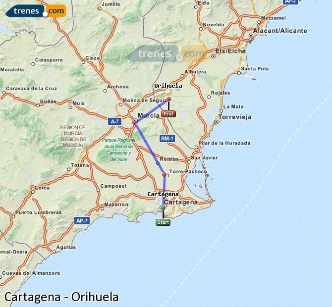Ampliar mapa Trenes Cartagena Orihuela