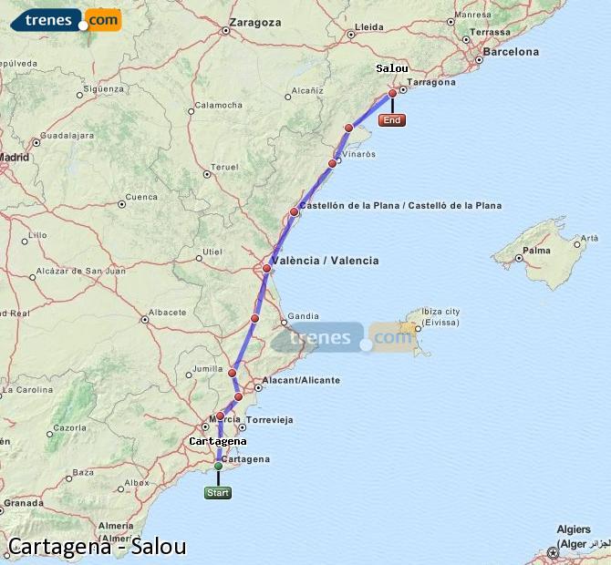Enlarge map Trains Cartagena to Salou