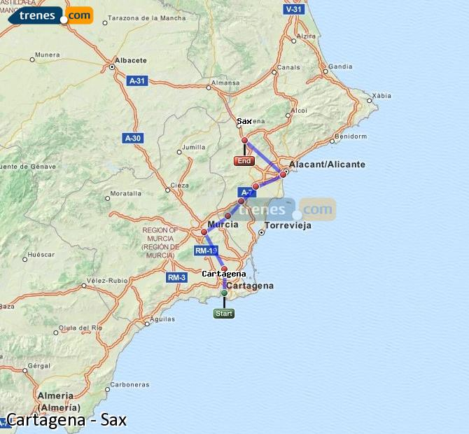 Agrandir la carte Trains Cartagena Sax