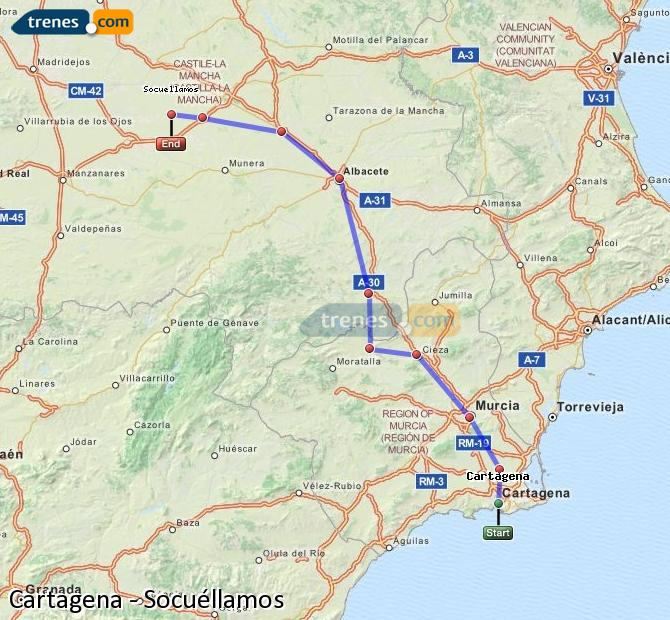 Karte vergrößern Züge Cartagena Socuéllamos