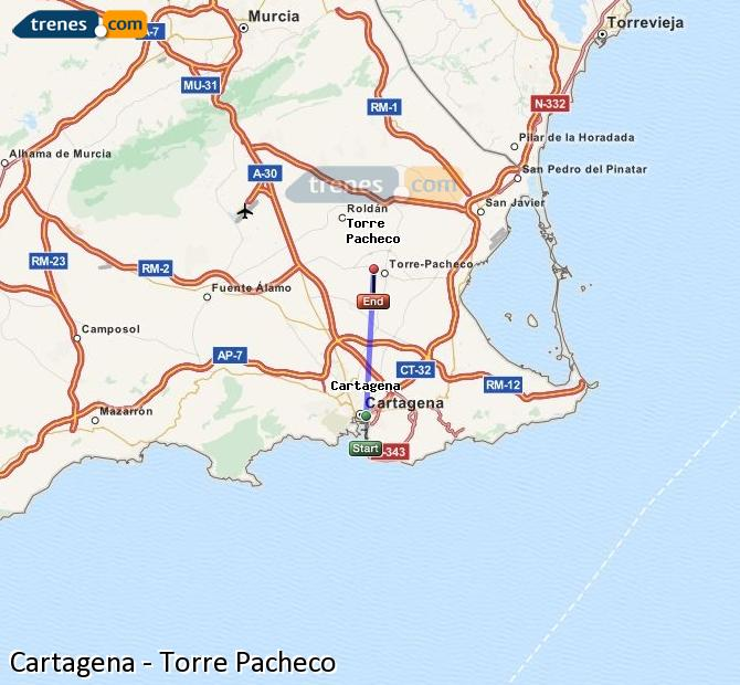 Enlarge map Trains Cartagena to Torre Pacheco