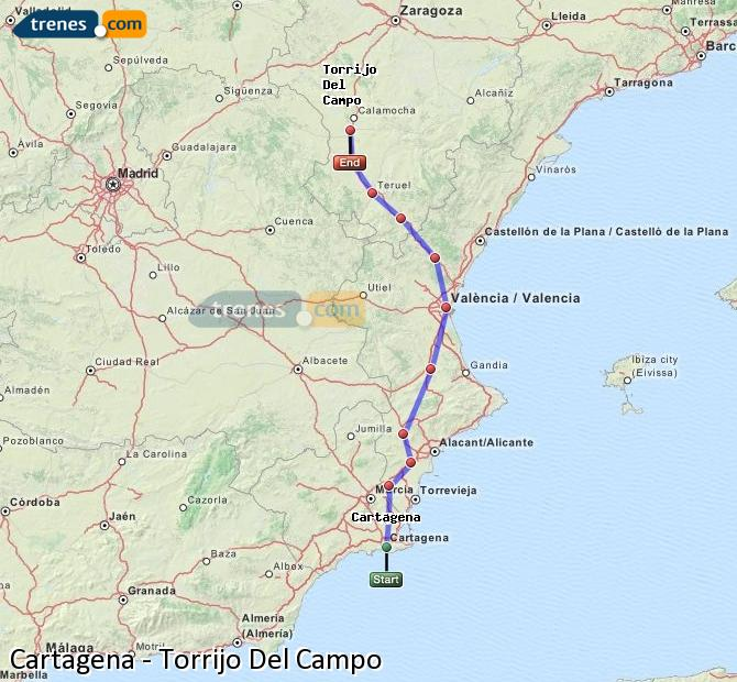 Karte vergrößern Züge Cartagena Torrijo Del Campo