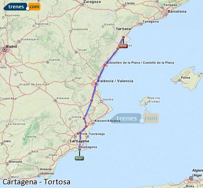 Enlarge map Trains Cartagena to Tortosa