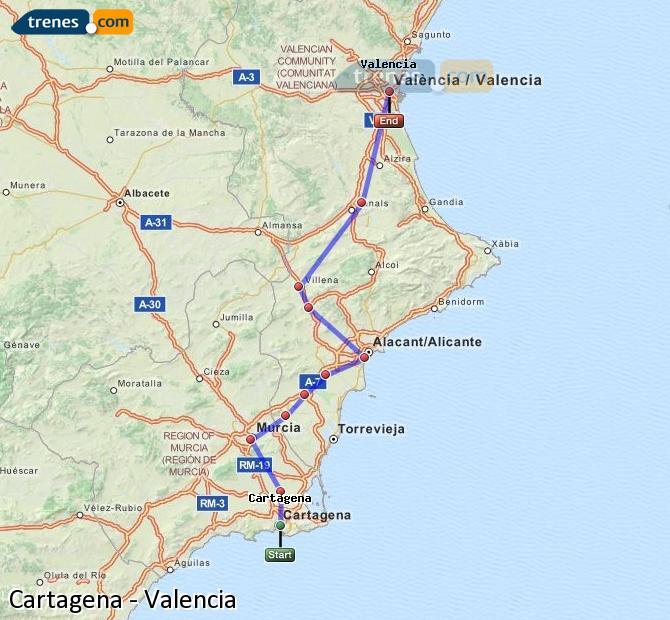 Ampliar mapa Trenes Cartagena Valencia