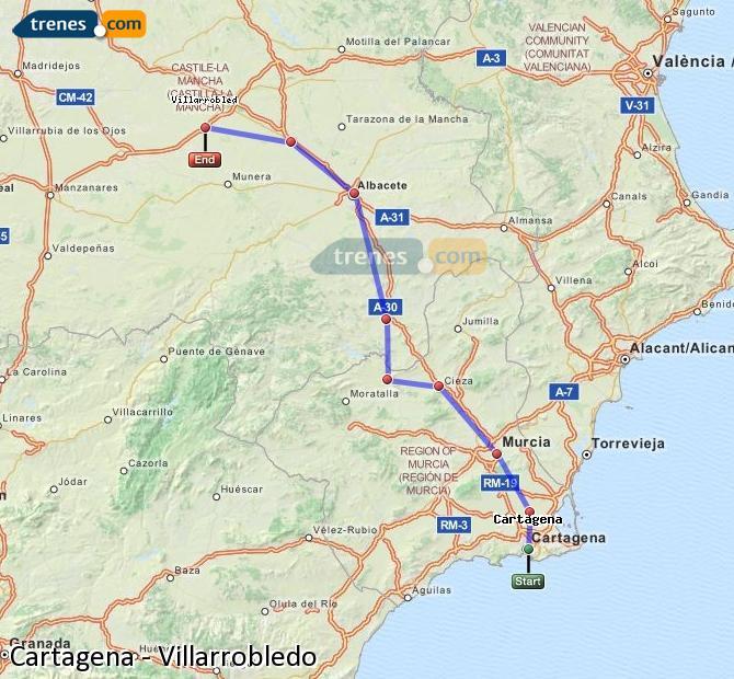 Karte vergrößern Züge Cartagena Villarrobledo