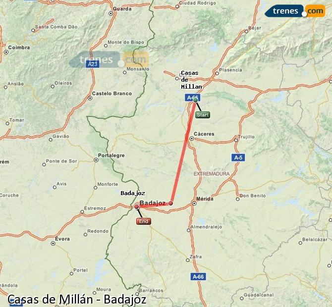 Ingrandisci la mappa Treni Casas de Millán Badajoz