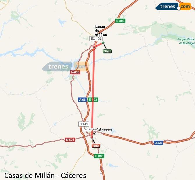 Ingrandisci la mappa Treni Casas de Millán Cáceres