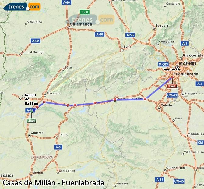 Karte vergrößern Züge Casas de Millán Fuenlabrada