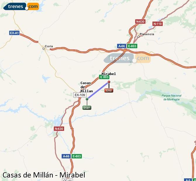 Agrandir la carte Trains Casas de Millán Mirabel