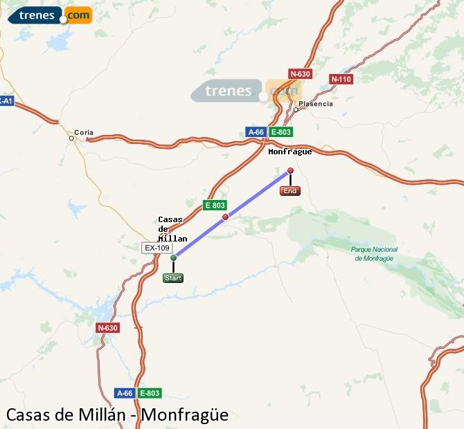 Agrandir la carte Trains Casas de Millán Monfragüe