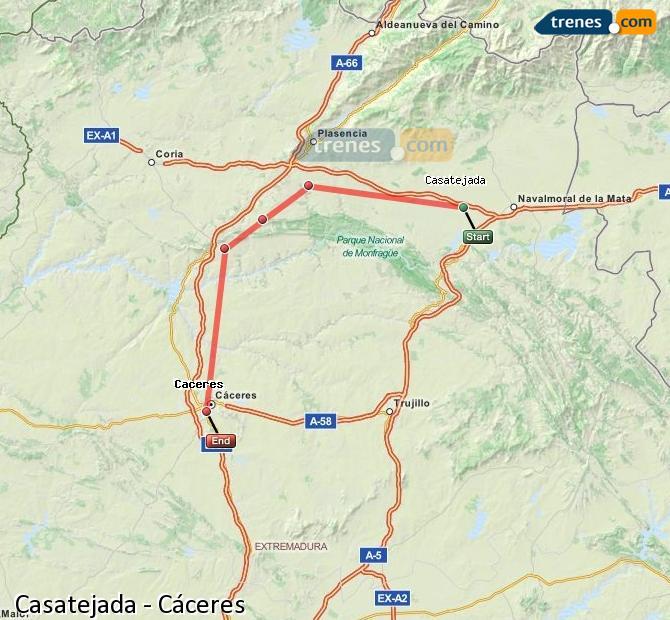 Agrandir la carte Trains Casatejada Cáceres