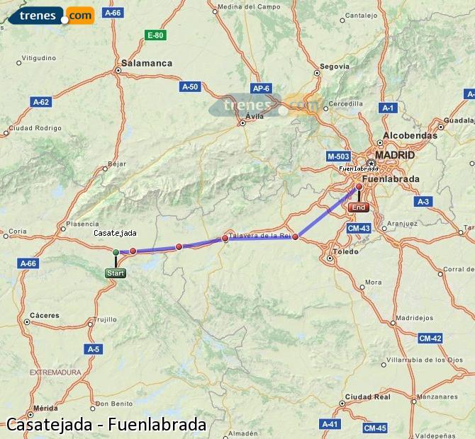 Enlarge map Trains Casatejada to Fuenlabrada
