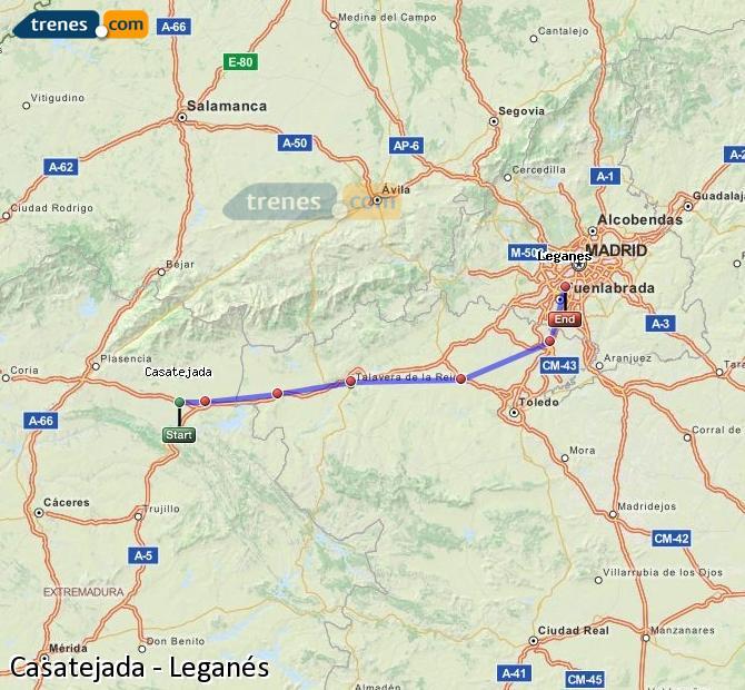 Ingrandisci la mappa Treni Casatejada Leganés