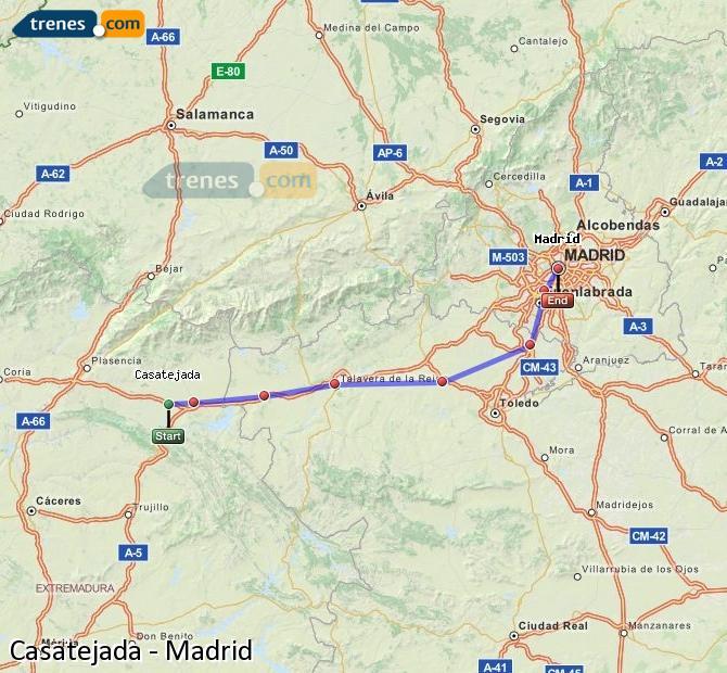 Ingrandisci la mappa Treni Casatejada Madrid