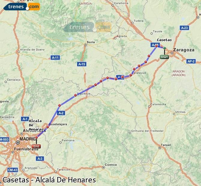 Agrandir la carte Trains Casetas Alcalá De Henares