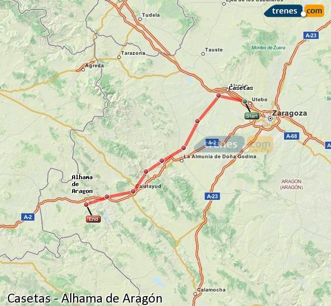 Ampliar mapa Trenes Casetas Alhama de Aragón