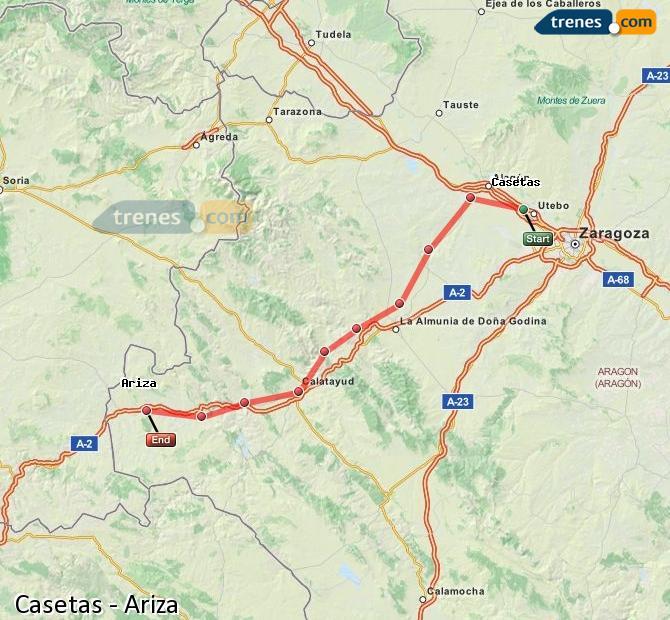Agrandir la carte Trains Casetas Ariza