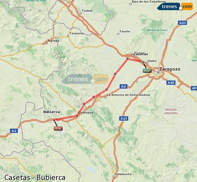 Agrandir la carte Trains Casetas Bubierca