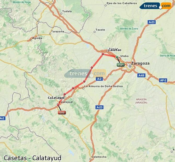 Agrandir la carte Trains Casetas Calatayud