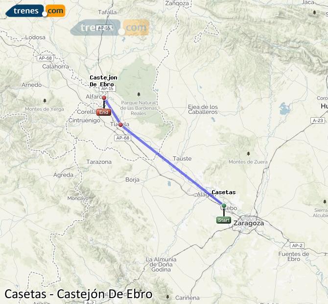 Agrandir la carte Trains Casetas Castejón De Ebro