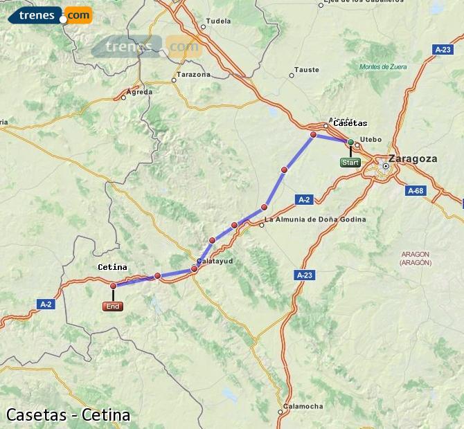 Agrandir la carte Trains Casetas Cetina