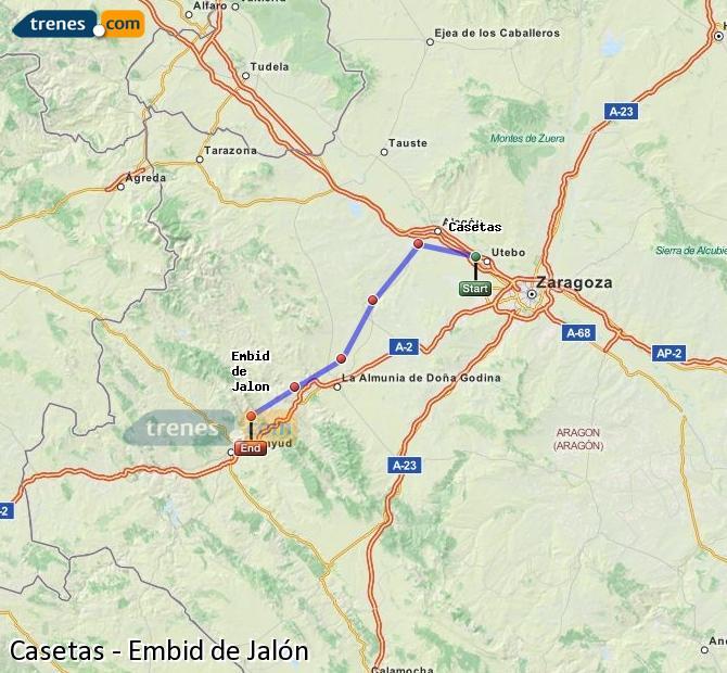 Agrandir la carte Trains Casetas Embid de Jalón