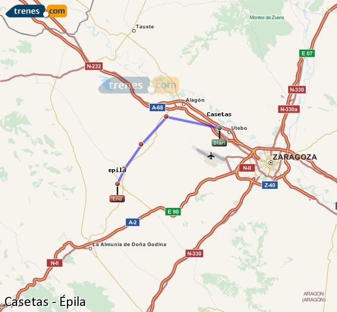 Enlarge map Trains Casetas to Epila