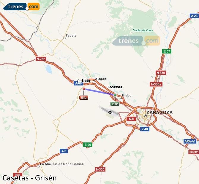 Agrandir la carte Trains Casetas Grisén