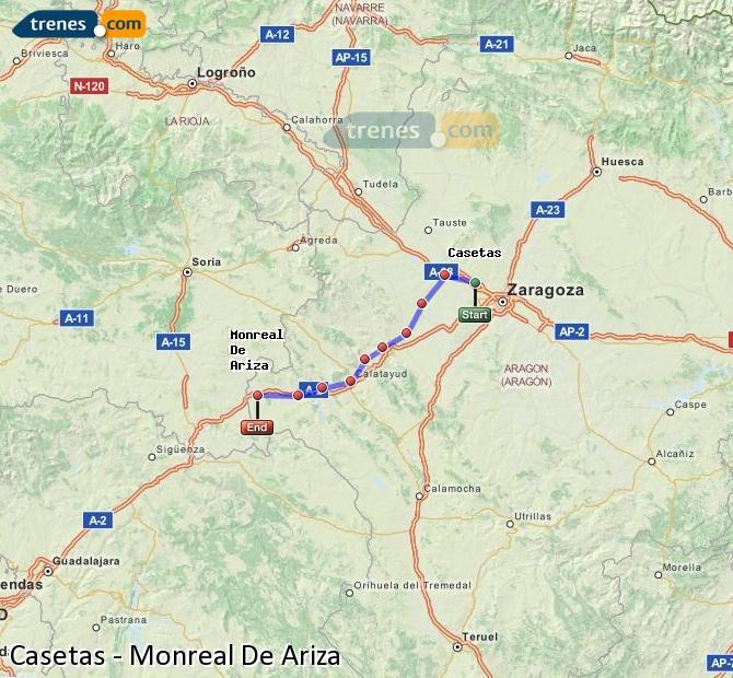Agrandir la carte Trains Casetas Monreal De Ariza