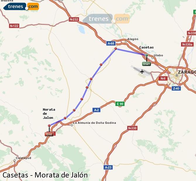 Agrandir la carte Trains Casetas Morata de Jalón