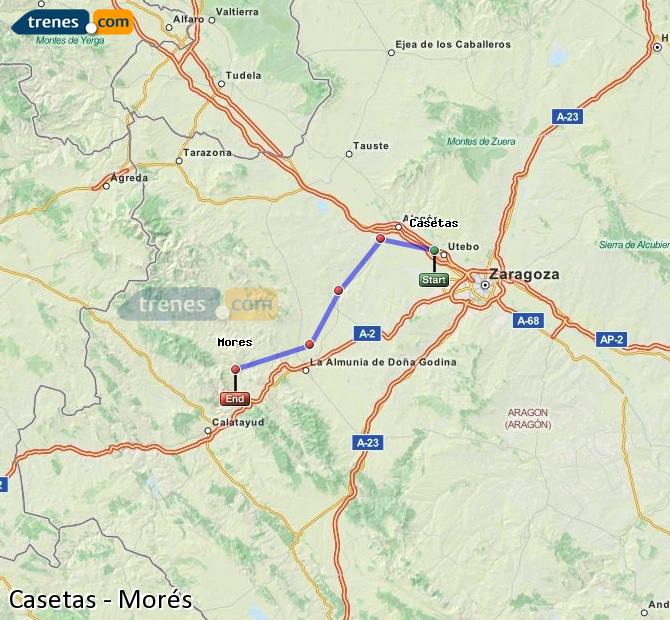 Agrandir la carte Trains Casetas Morés