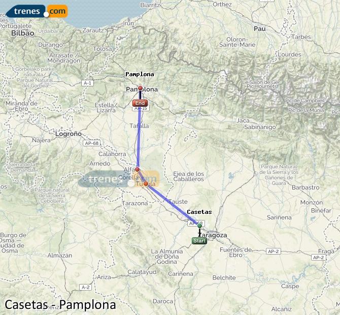 Agrandir la carte Trains Casetas Pamplona