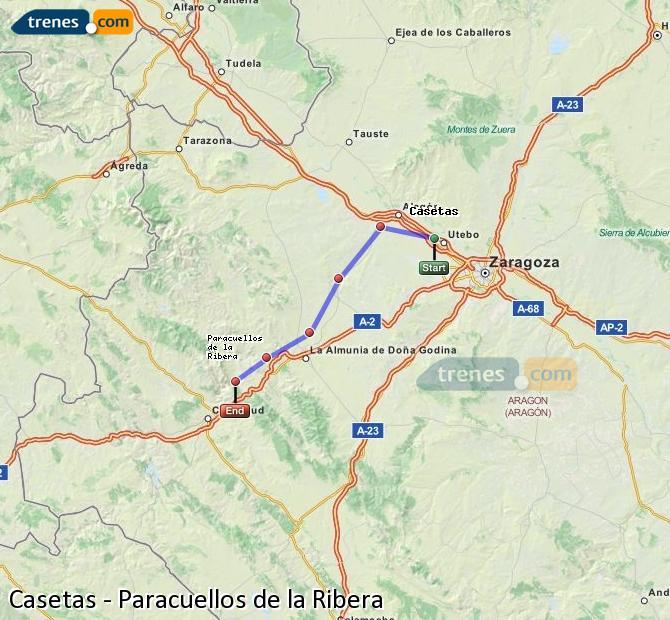 Ampliar mapa Trenes Casetas Paracuellos de la Ribera