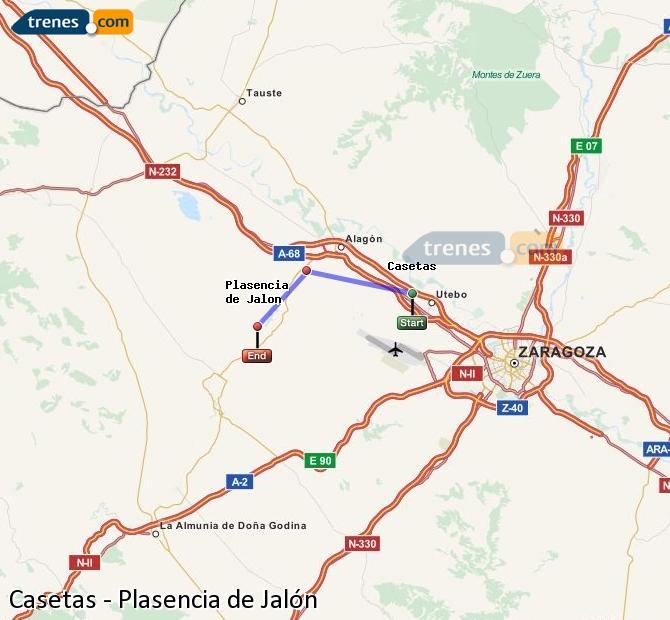 Karte vergrößern Züge Casetas Plasencia de Jalón