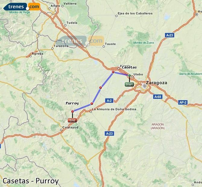 Agrandir la carte Trains Casetas Purroy