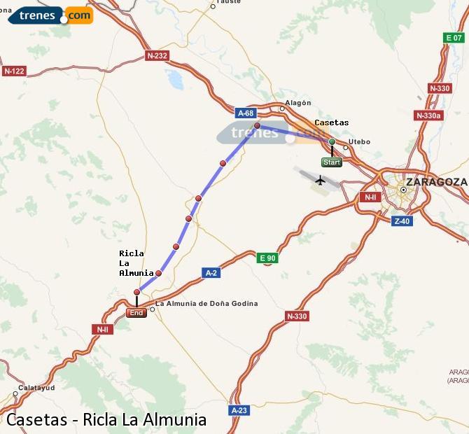 Agrandir la carte Trains Casetas Ricla La Almunia