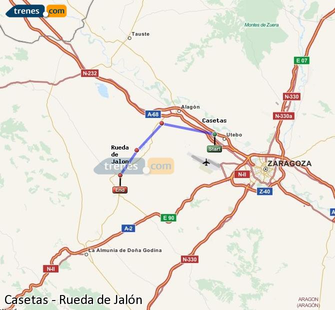Ampliar mapa Trenes Casetas Rueda de Jalón
