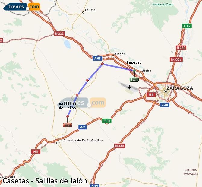 Agrandir la carte Trains Casetas Salillas de Jalón