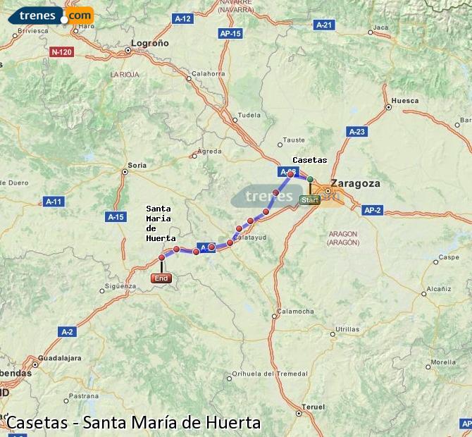Ampliar mapa Trenes Casetas Santa María de Huerta