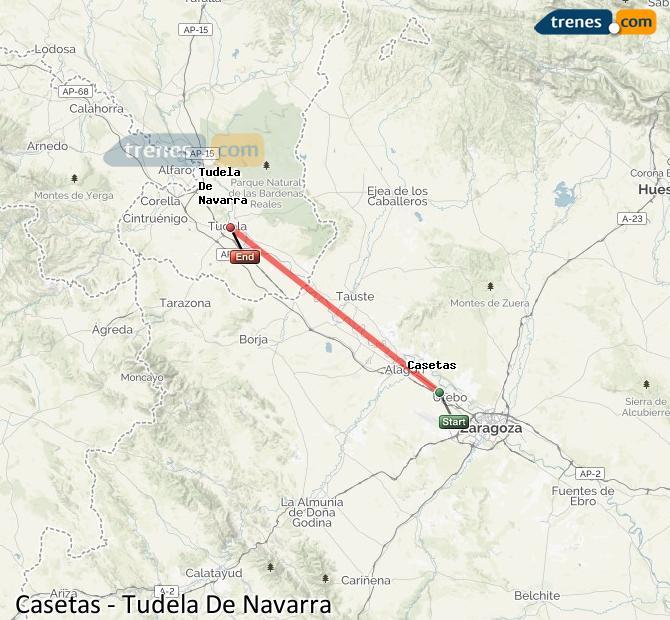 Agrandir la carte Trains Casetas Tudela De Navarra